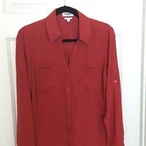 Express Burnt Orange Slim Portofino Shirt